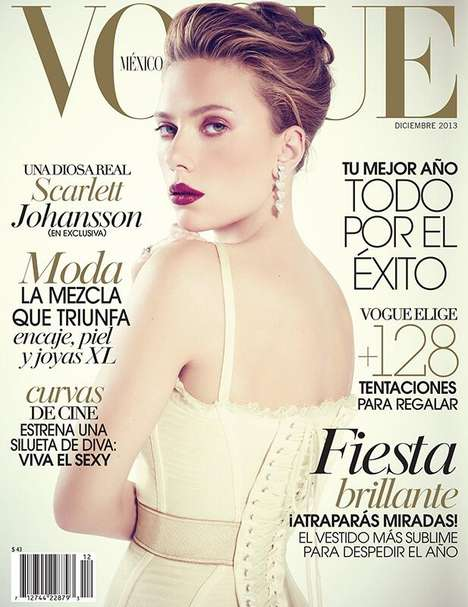 Corseted Celeb Magazine Covers - The Vogue Mexico December 2013 Issue Stars Scarlett Johansson