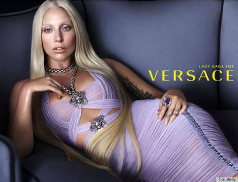 Refined Pop Star Campaigns - The Spring 2014 Lady Gaga Versace Campaign Emulates Donatella