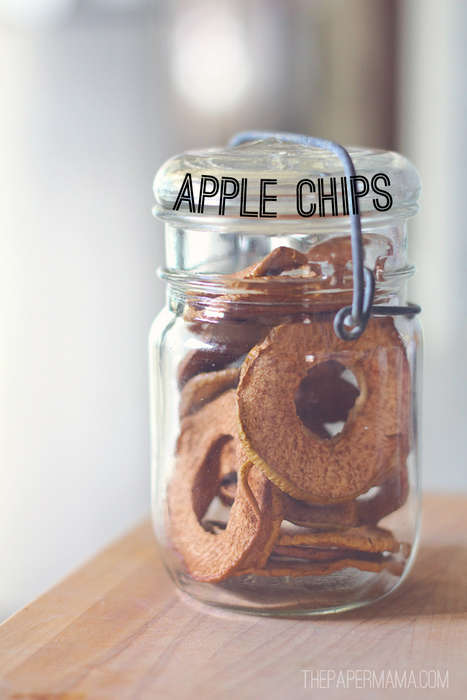 Edible Christmas Adorenments - These Do It Yourself Apple Chips are Tasty and Festive