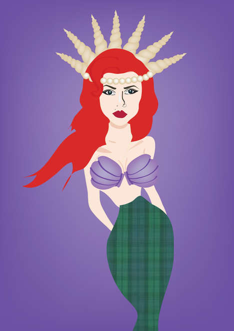 Illustrated Disney Diva Makeovers - Disney Mermaid Ariel Got Her Nose Pierced and Her Eyebrows Done
