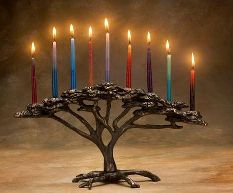Arboreal Bronze Menorahs - Nelles' Tree Candle Holder Mimics the Tree of Life