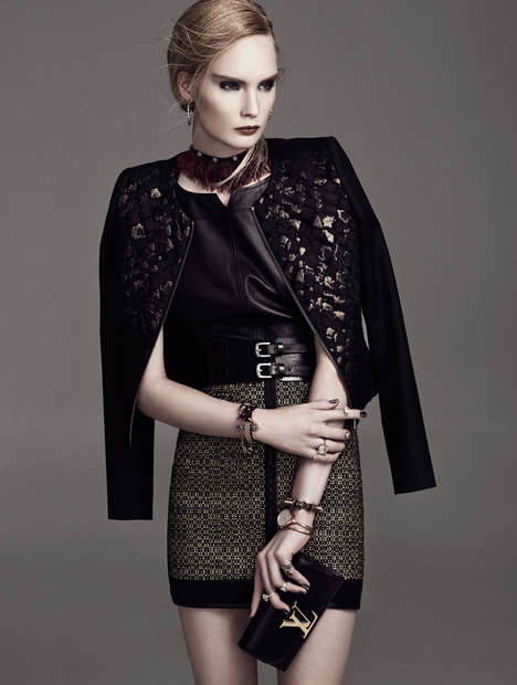 Glittery Golden Editorials - Henrietta Hellberg Rocks Edgy Black and Gold Looks in This Editorial