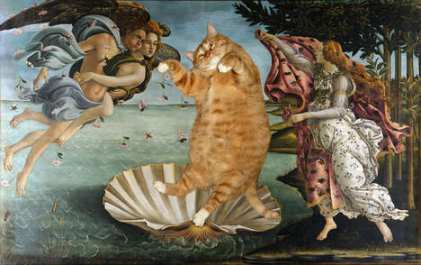 14 Remixed Botticelli Paintings - From Historical Cat-Infused Paintings to Artistic Advertising