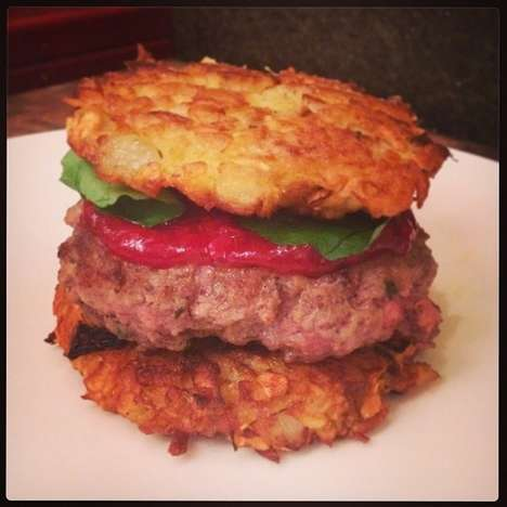Latke Burgers - Celebrate the Thanksgiving Hannukah Hybrid Holiday with a Frankenstein-esque Burger