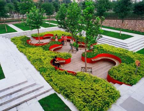 Sunken Garden Seating - The Bridge Gardens by Turenscape is an Urban Oasis