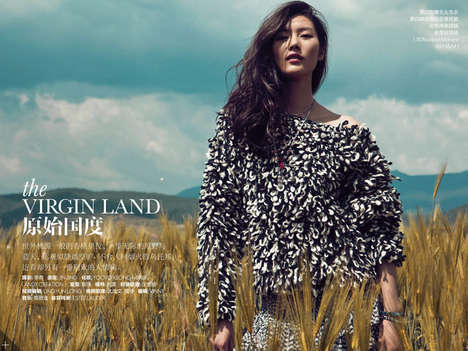 Exotic Countryside Editorials - The ELLE China December 2013 Cover Shoot Stars Liu Wen