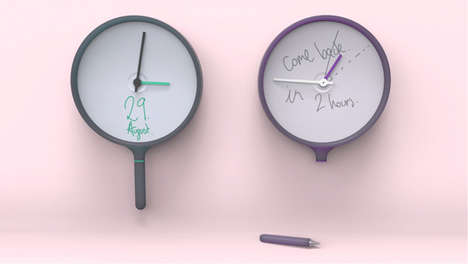 Whiteboard Wall Clocks - The Little Note Clock Lets You Communicate Timing by Doodling on the Face