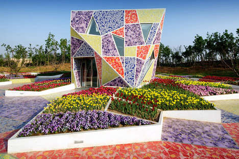 Abstract Tessellated Architecture - The Mosaic Museum of Ceramics Features a Riot of Broken Bowls