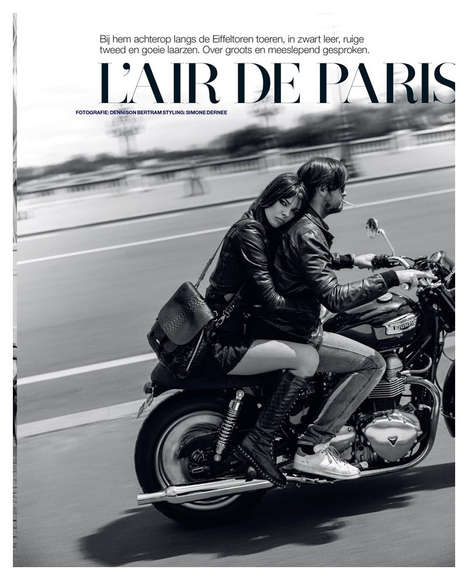Parisian Biker Editorials - The Marie Claire Netherlands November 2013 Photoshoot Stars Eva Doll