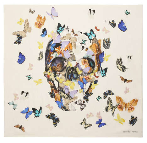 Artistically Revamped Designer Scarves - Damien Hirst Updates Alexander McQueen