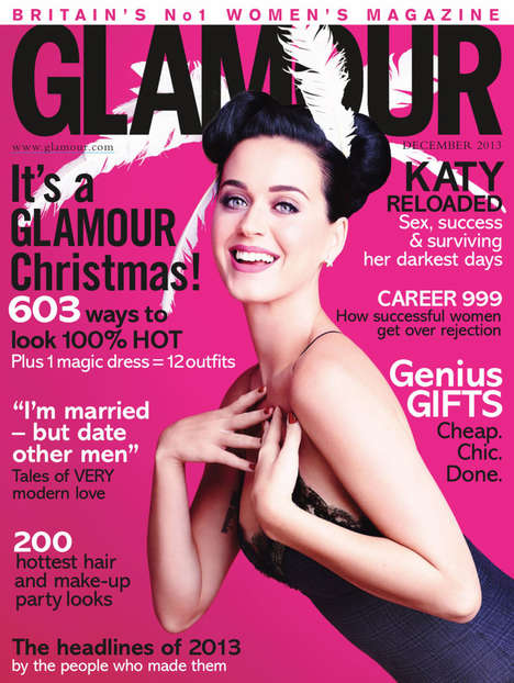 Christmas-Themed Celebrity Editorials - Katy Perry is Unwrapped for Glamour UK December 2013