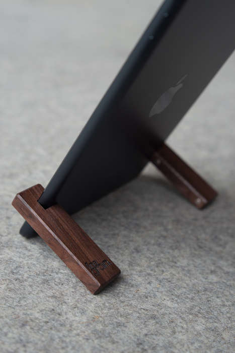 Minimalist Compact Tablet Stands - The Coburns Compact iPad Stands Have a Simple Wooden Design