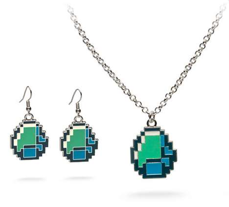8-bit Video Game Jewels - Minecraft Diamond Jewelry Lets You Buy Diamonds Without Breaking the Bank
