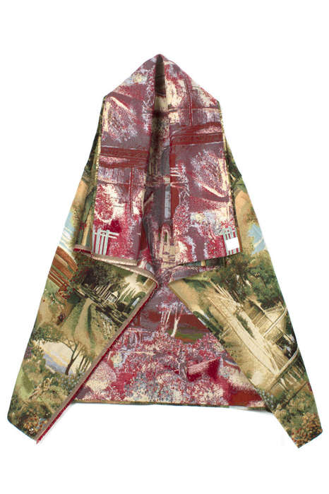 Contrasting Courtyard-Printed Cloaks  - This Funky Fashion Cape from Bless is a Bit of Your Backyard