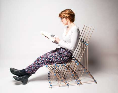 Scaffolding-Like Seating - Chaise by Benjamin Mahler is Made Out of Dowels and Elastics