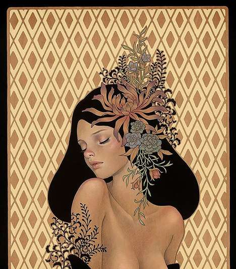 Whimsical Wooden Portraits - Audrey Kawasaki Has Created a Wood Panel Painting Series