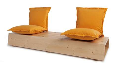 Pinned Pillow Benches - The Facile Sofa Comprises a Cushions, Dowels and a Pegboard Block