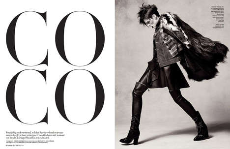 Dynamic Punk Editorials - The L'Officiel Netherlands December 2013 Photoshoot Stars Coco Rocha