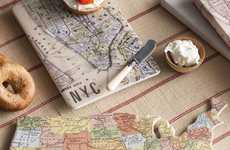 Cartographic Kitchen Decor - Fancy's Decorative Tray is Inspired by a Map of United States Geography