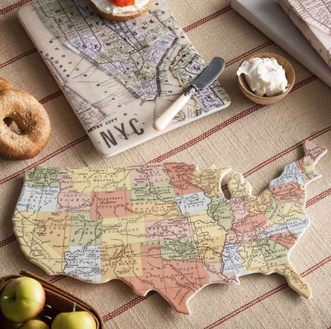 Porcelain Cartographic Placemats - This Porcelain Tray Provides a Geography Lesson As You Eat Toast