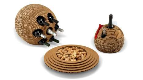 Beehive-Like Wine Sets - The Hole Collection by Giancarlo Zema is Made out of Recycled Cardboard