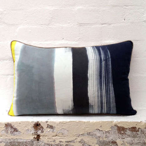 Chromatic Barcode Cushions - These Linen Pillows Emulate Barcode Pattern Shadings