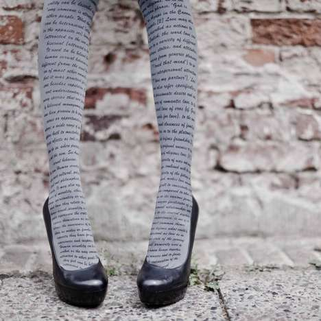 Romantic Verse-Printed Tights - These Zohara Tights are Intellectually Adorable