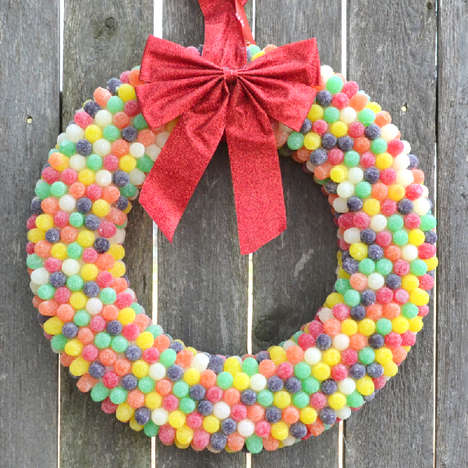 Colorful Candy Wreaths - Add Some Sugary Elements to Your Holiday Decor with This Gum Drop Wreath