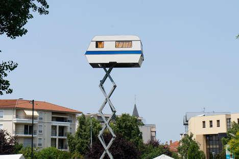 Suspended Soaring Caravan Art - The Artist Benedetto Bufalino Sends a Caravan Soaring into the Sky