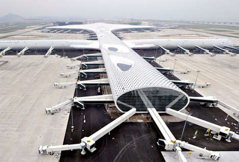 Futuristic Fish-Shaped Airports - The Shenzhen Airport Happens to Look Like a Manta Ray Shark