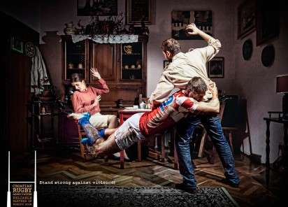 "Protective Rugby Player Ads - The Woman's Room Campaign Urges ""Stand Strong Against Violence"""