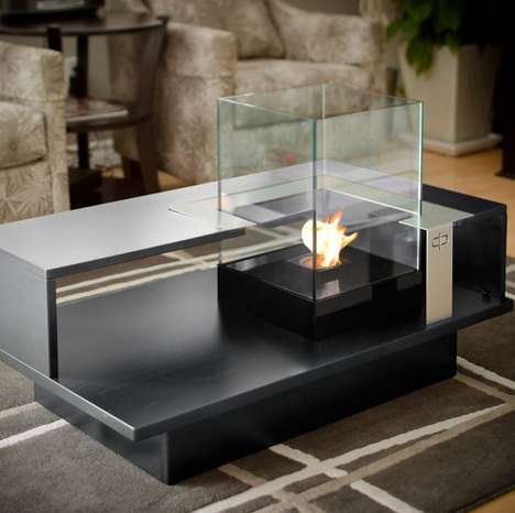 Enclosed Candle Table Tops  - This Fireplace Coffee Table is an Excellent Winter Decoration
