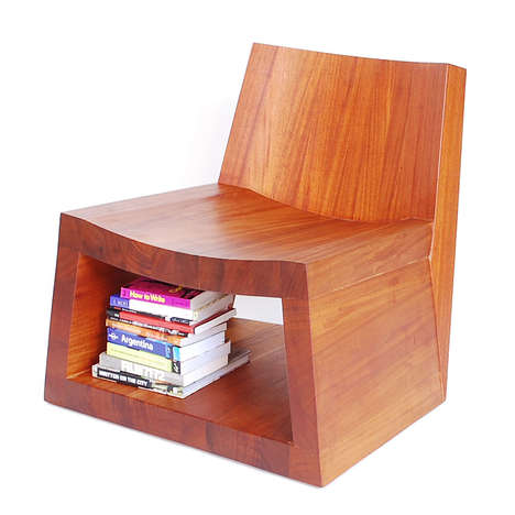 Wooden Storage Seating - The Mode Lounge Chair is Perfect for Reading and Storing Books