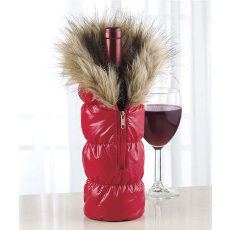 Stylish Wine Outwear - These Wine Bottle Parkas are a Fun Alternative to Wine Bags