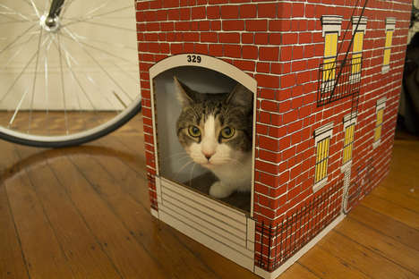 Brownstone Feline Town Homes - This City Townhouse Built for Your Cat Lets Them Live Luxuriously