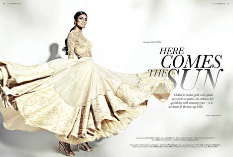 Golden Bride Editorials - The ELLE India Marriage November 2013 Photoshoot Stars Pallavi Singh