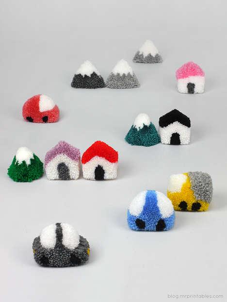 DIY Pom-Pom Village Playsets - These DIY Pom Pom Toys Are Cute and Easy to Make