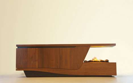 Flaming Timber Table Tops - This Handy Coffee Table Fireplace is Also a Storage Space
