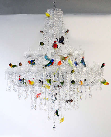 Colorful Avian-Infused Chandeliers - Designer Sebastian Errazuriz is Behind This Bird Chandelier