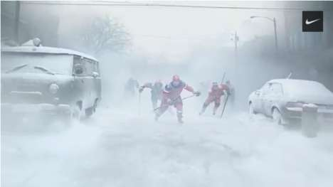 Winter-Embracing Sports Ads - Nike Inspires You to Play Winter Sports the Russian Way