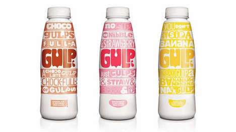 Texty Mouthful Marketing - Gulp Milkshakes Packaging Expresses Itself in Bold and Agitated Letters