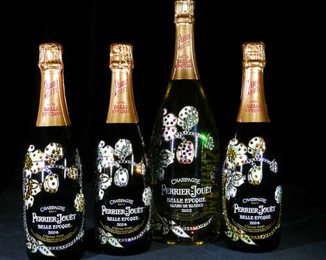 Charitable Bling Champagne Bottles - This Artist Crafted a Studded Perrier-Jouet Bottle for Charity