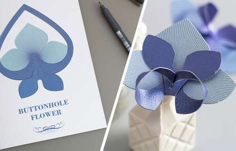 Ornamental Origami Greetings - The Paper Flower Set Invites the Card Recipient to Create a Sculpture