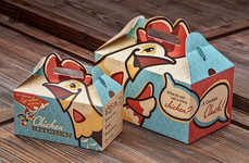 Poultry-Headed Packaging - Chicken Kitchen Branding Lets the Illustration Dictate the Carton's Shape