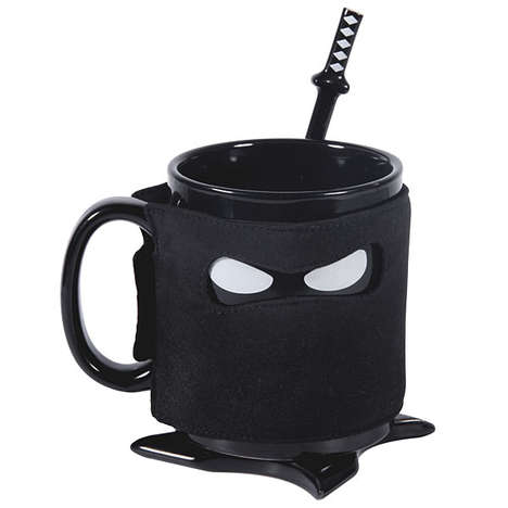 Masked Warrior Mugs - The Ceramic Ninja Mug Comes Equipped with Stealthy Samurai Accessories