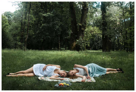 Twin Sister Picnic Portraits - 'Breakfast on the Grass' by Kasia Drozd Evokes a Youthful