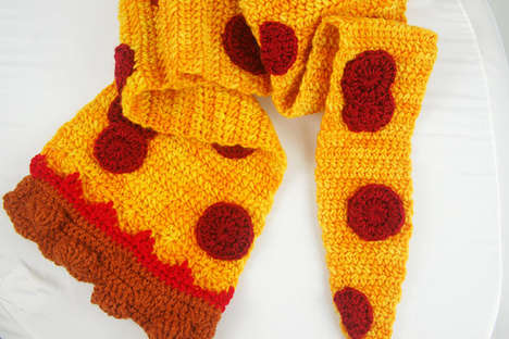 Deceptively Delicious Knitted Scarfs - The Pepperoni Pizza Scarf Will Make People Wish for Lunchtime