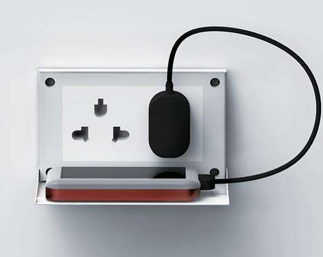 Shelf-Like Electrical Outlets - The Placed Socket Provides a Little Ledge for Resting Your Phone