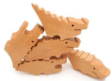 Playful Timber Reptile Towers - The Wood Croc Pile is a Great Game with Multiple Uses