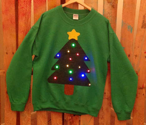 Festive Blinking Light Sweaters - Stand Out at a Christmas Party Wearing a Holiday Light-Up Sweater